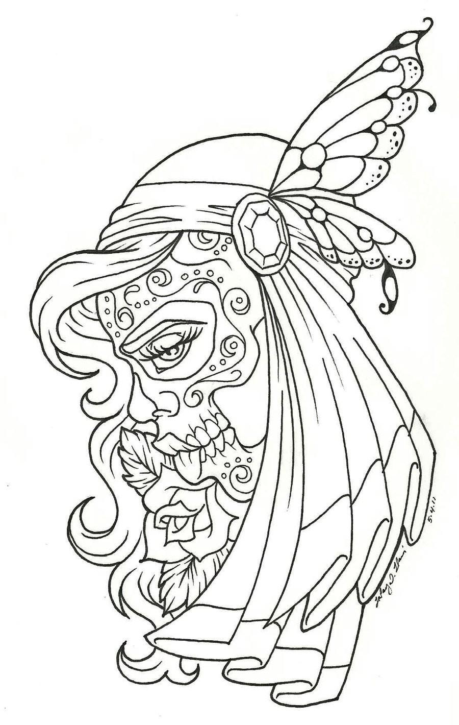 900x1420 Dia De Los Muertos Coloring Page Pages