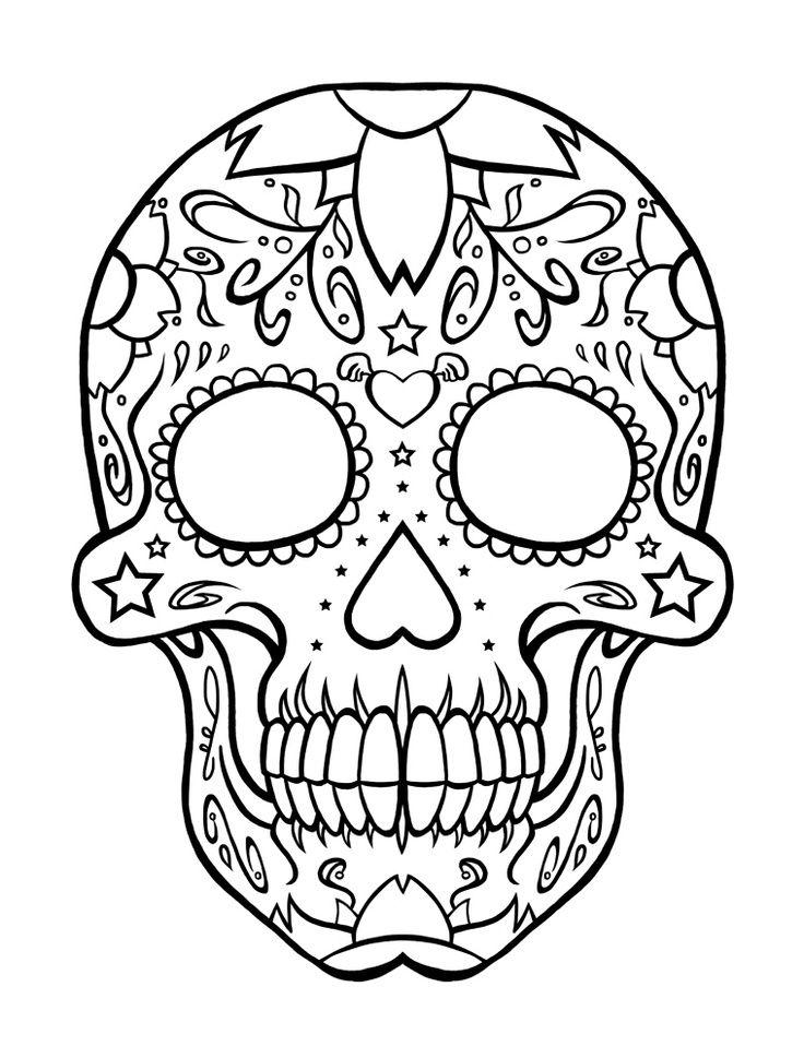 736x969 Dia De Los Muertos Coloring Pages Sugar Skull Version Wall