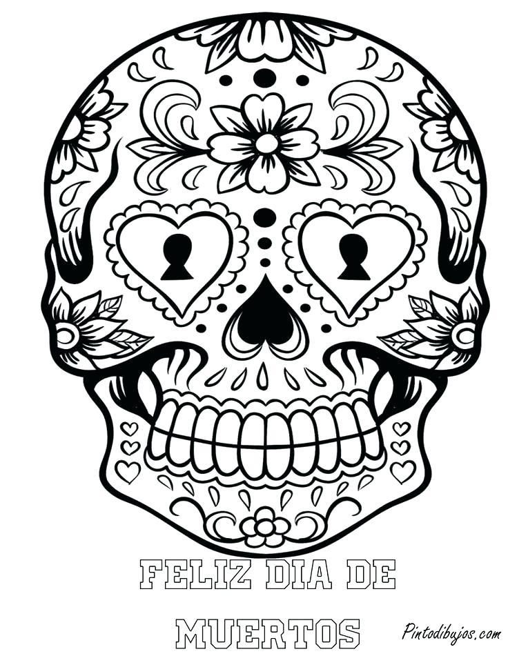 736x951 El Dia De Los Muertos Coloring Pages Skull Coloring Pages Dia De
