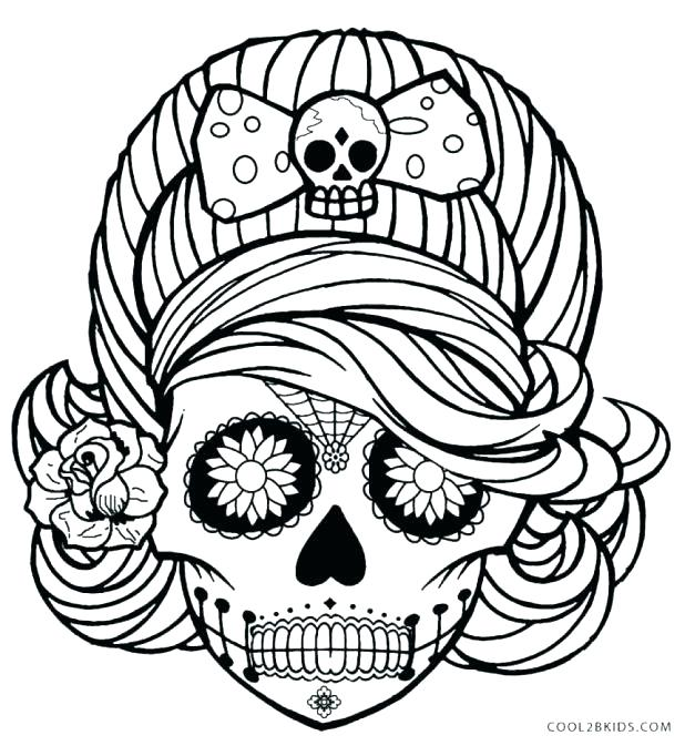 618x673 Inspirational Day Of The Dead Skull Coloring Pages Printable