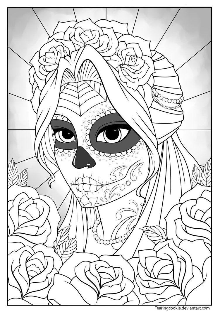 752x1063 Sugar Skull Girl Colouring Page