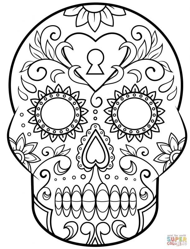 611x800 Day The Dead Sugar Skull Coloring Page Free Printable Day