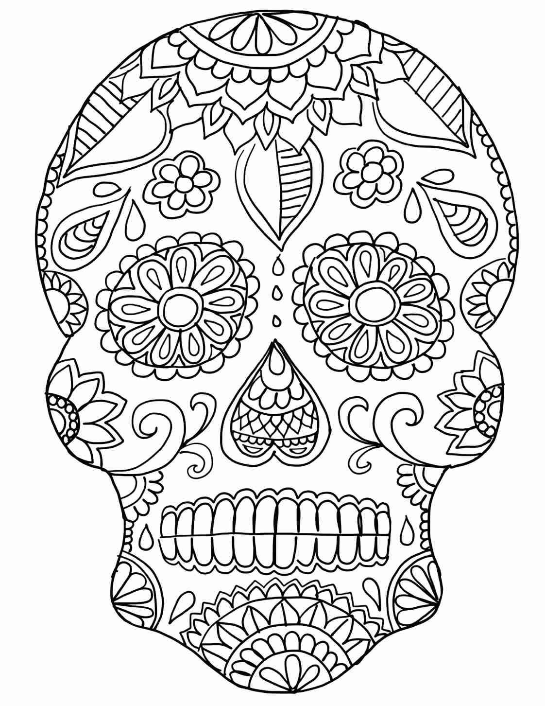 1122x1452 Day Of The Dead Sugar Skull Coloring Page On Dia De Los Muertos