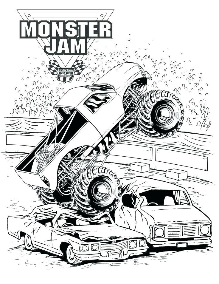 735x952 El Toro Loco Monster Truck Coloring Page