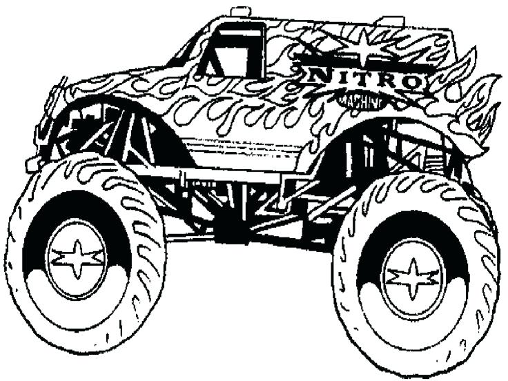 736x552 El Toro Loco Monster Truck Coloring Page As Well As Kid Friendly