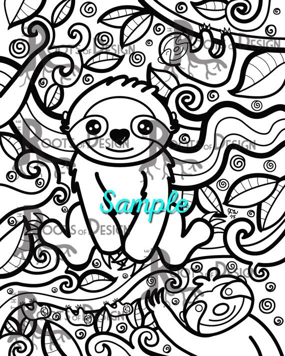 570x713 Cute Sloth Instant Downloadable Coloring Print