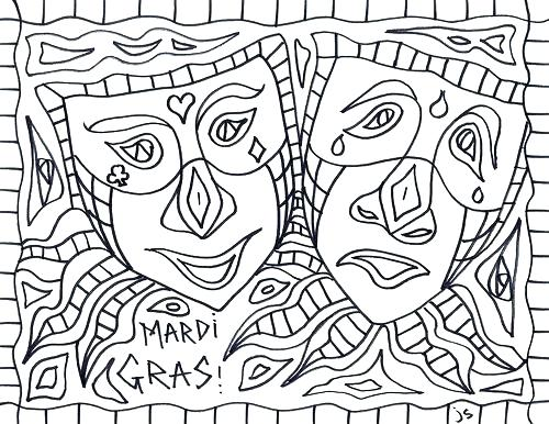 500x386 Mardi Gras Masks Coloring Pages Elaborate Mask Coloring Page Mardi