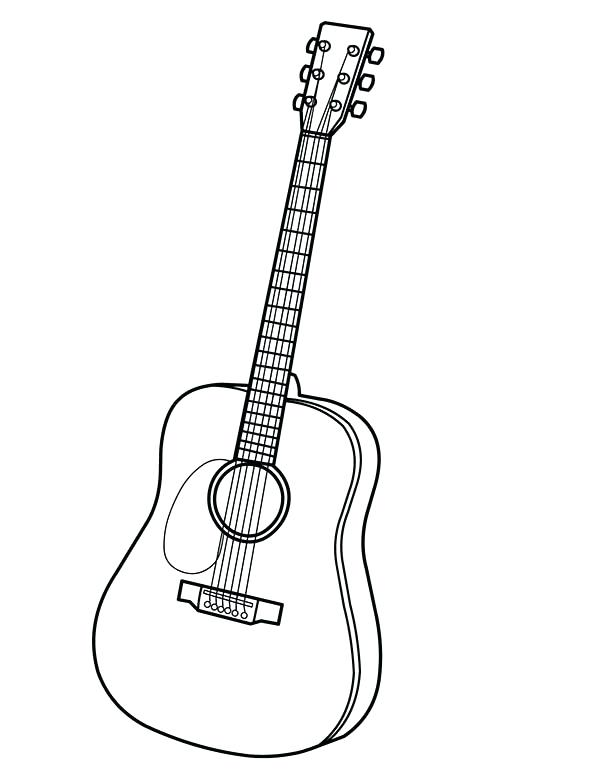 600x776 Electric Guitar Coloring Page Free Printable Pages Bass Murs
