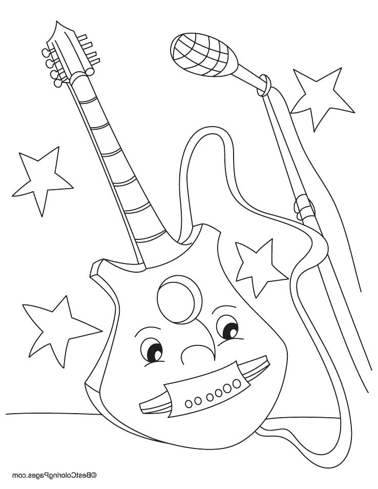 738x954 Electric Guitar Coloring Pages Acoustic Electric Guitar Colouring