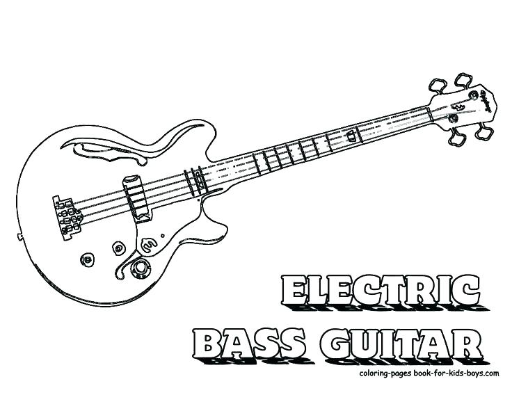 736x568 Electric Guitar Coloring Pages Free Guitar Coloring Pages Bass