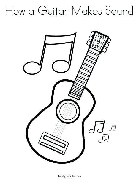 468x605 Electric Guitar Coloring Pages Printable With Music Notes Page