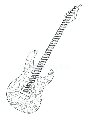 337x450 Guitar Coloring Pictures The Guitar Coloring Page Electric Guitar