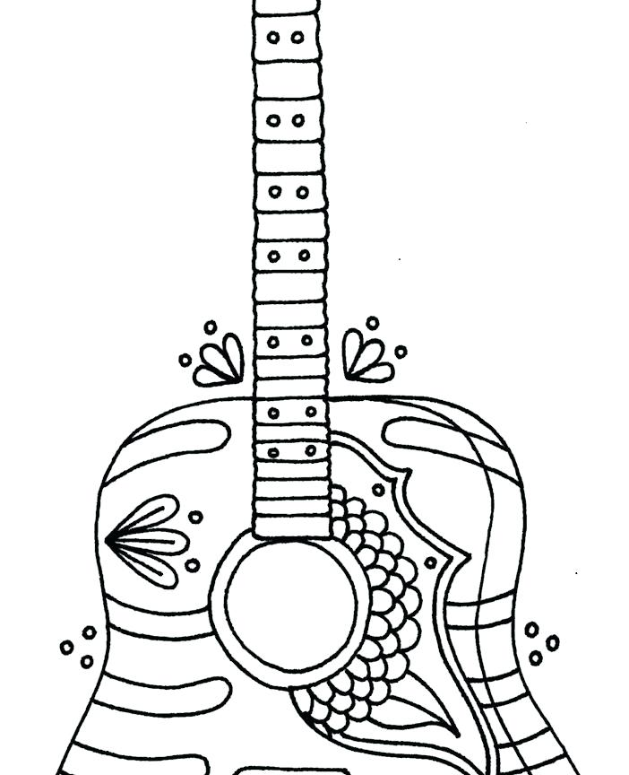 702x864 Free Printable Electric Guitar Coloring Pages