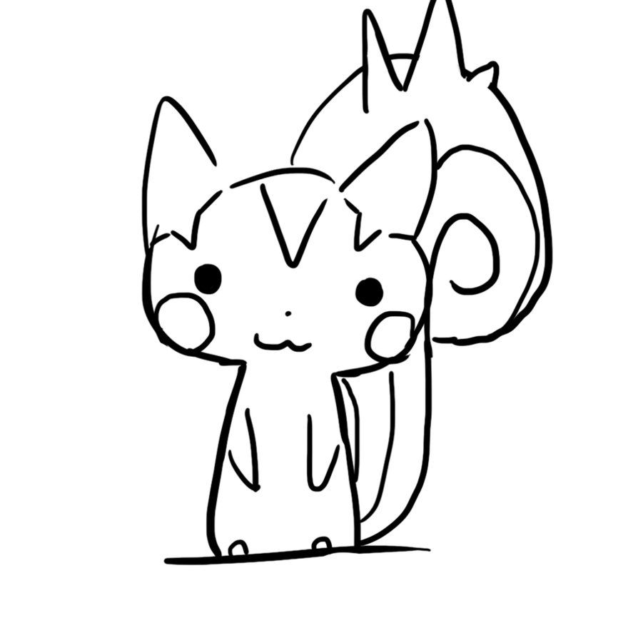 894x894 Pachirisu Electric Pokemon Coloring Pages Outlines