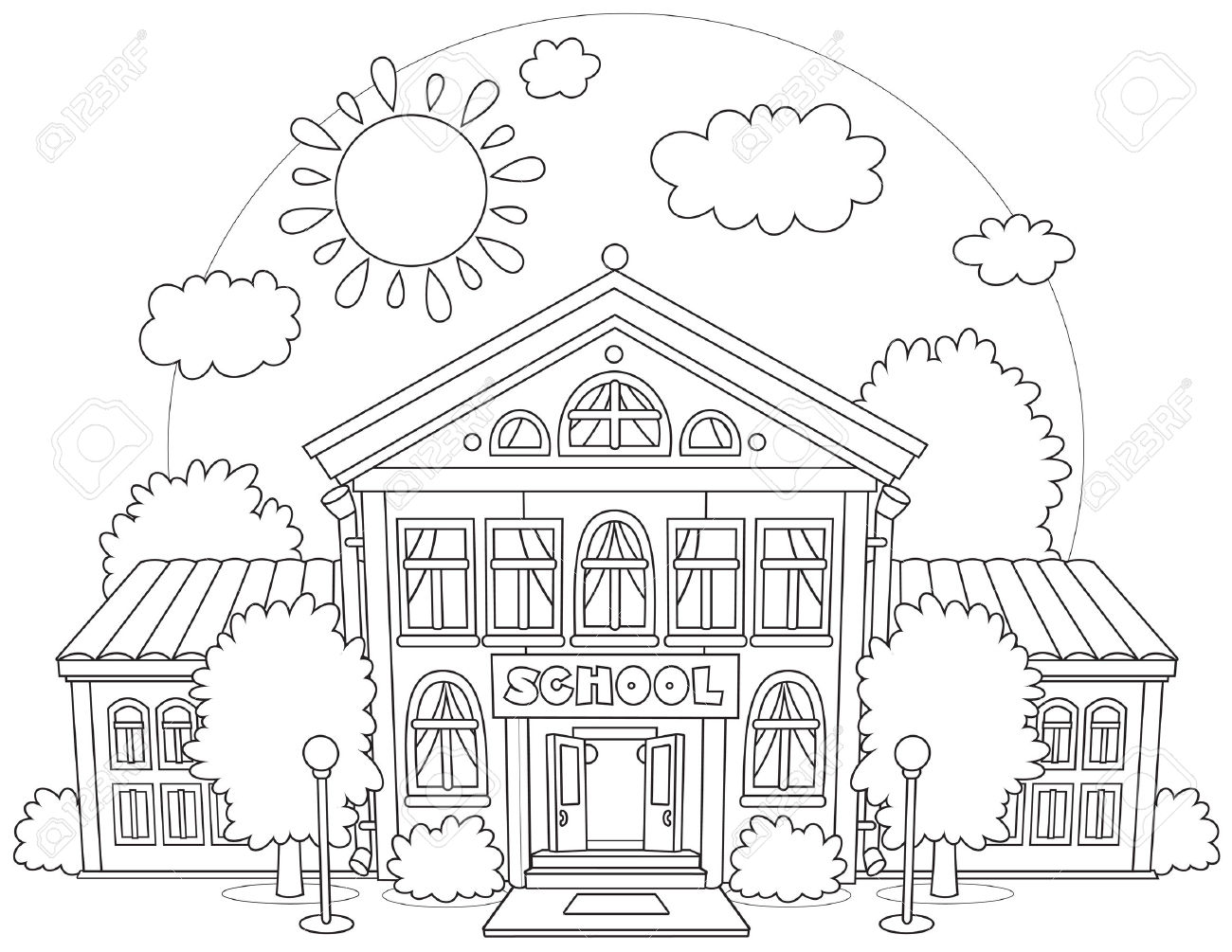 1300x1005 Happy Coloring Pages Of School Building Hurry New Pa Unknown