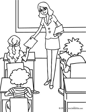 363x470 Teacher Distributing Sheets To The Pupils Coloring Page