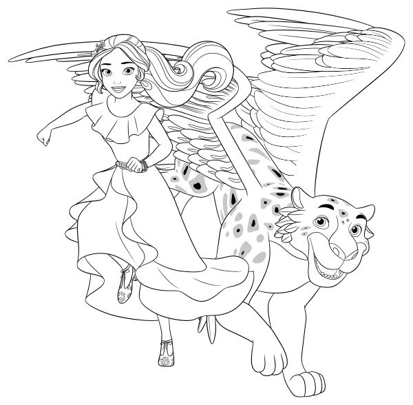 600x588 Elena Of Avalor Coloring Pages To Download And Print For Free