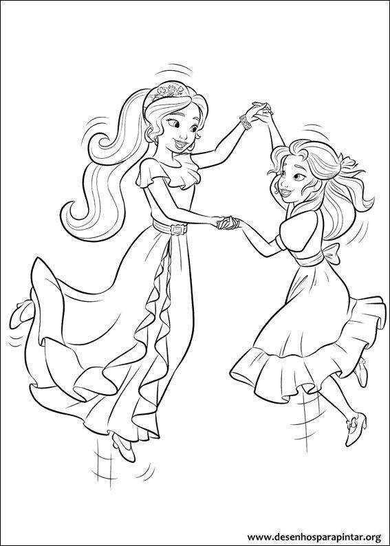 567x794 Princess Isabel And Elena Of Avalor Colouring Page Children