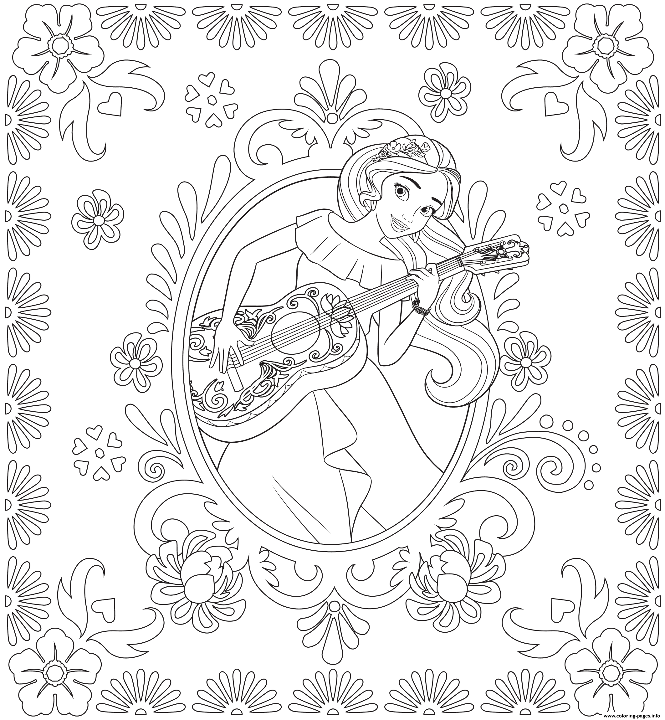 2125x2300 Willpower Princess Elena Coloring Page Of Avalor Disney Pages