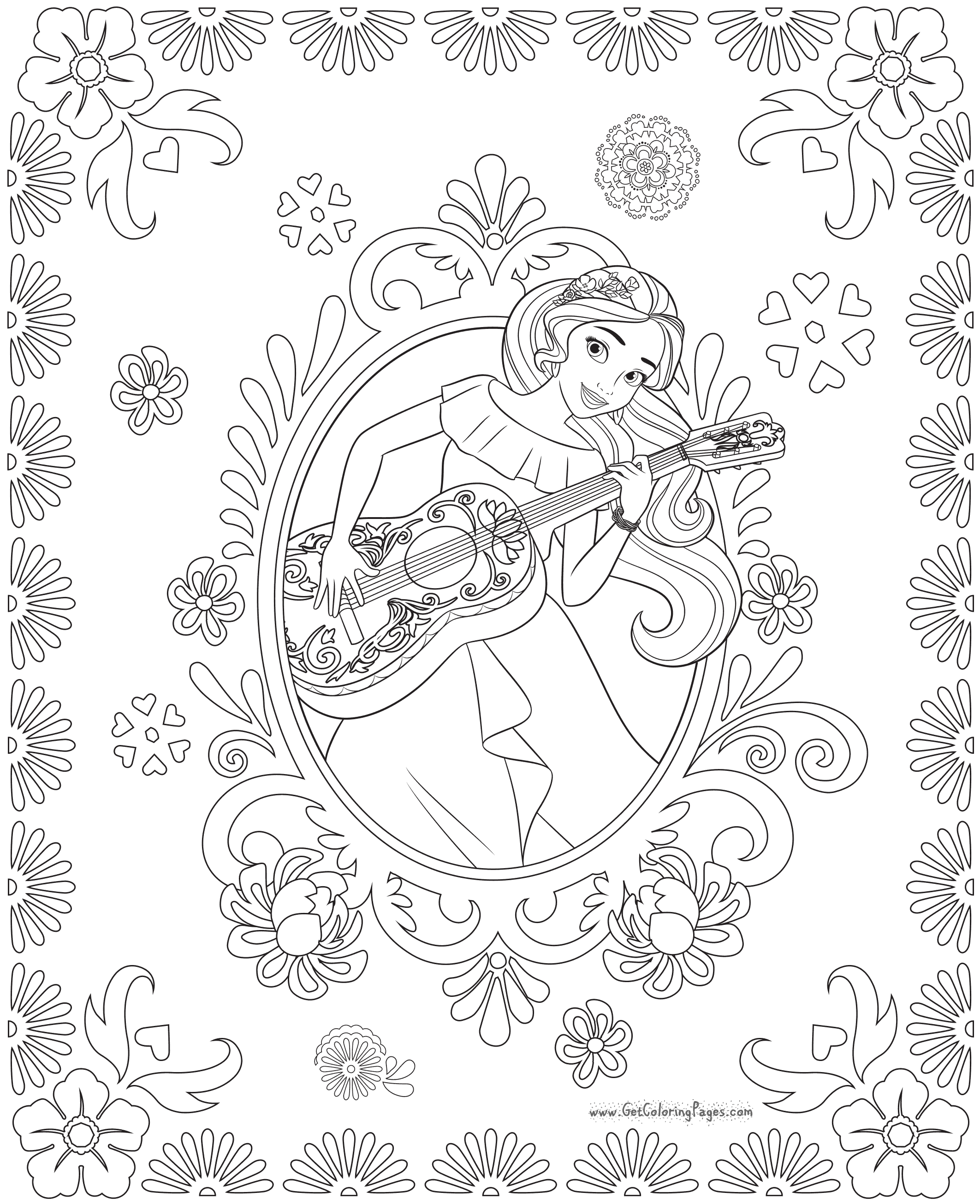 2125x2610 Disney Princess Elena And Storytime Guitar Coloring Page Free