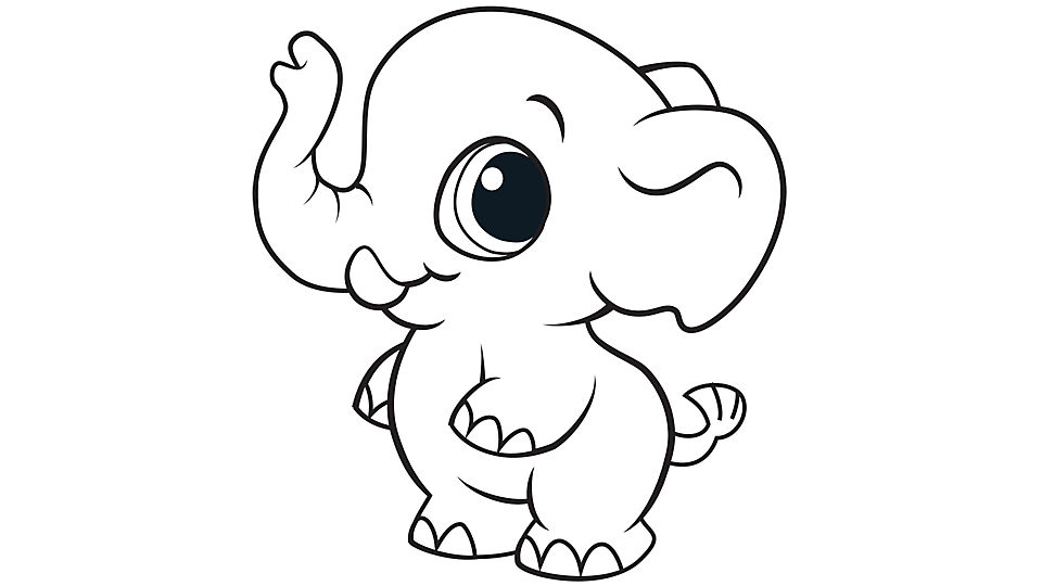 960x540 Elephant Coloring Page