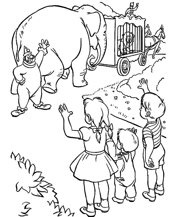 600x734 Kids Saying Goodbye To Circus Elephant Coloring Pages Kids Saying