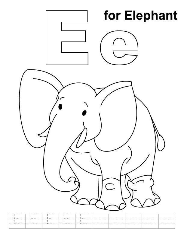 612x792 E For Elephant Coloring Page With Handwriting Practice Download