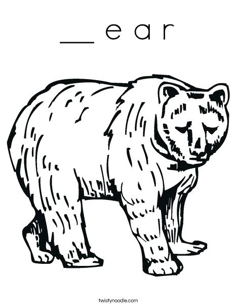468x605 Ear Coloring Page Grizzly Bear Coloring Page Elephant Ear Coloring