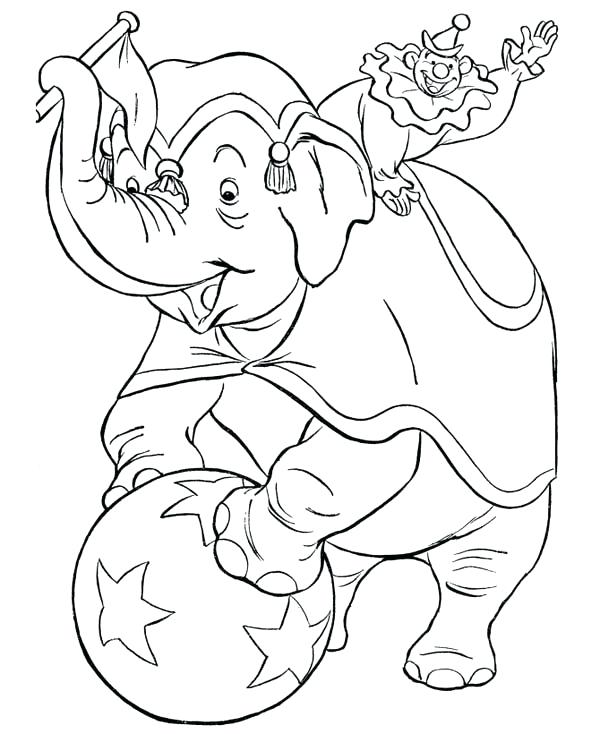 600x734 Clown Coloring Pages Circus Elephant And Circus Clowns Coloring