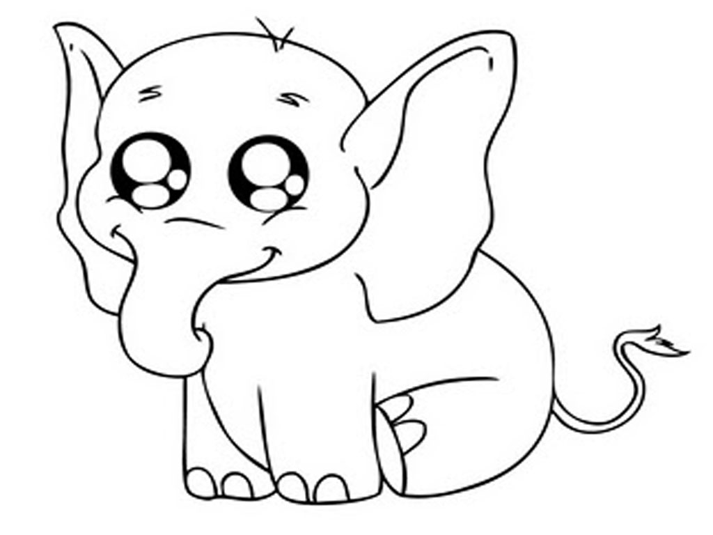 1024x768 Elephant Face Coloring Page