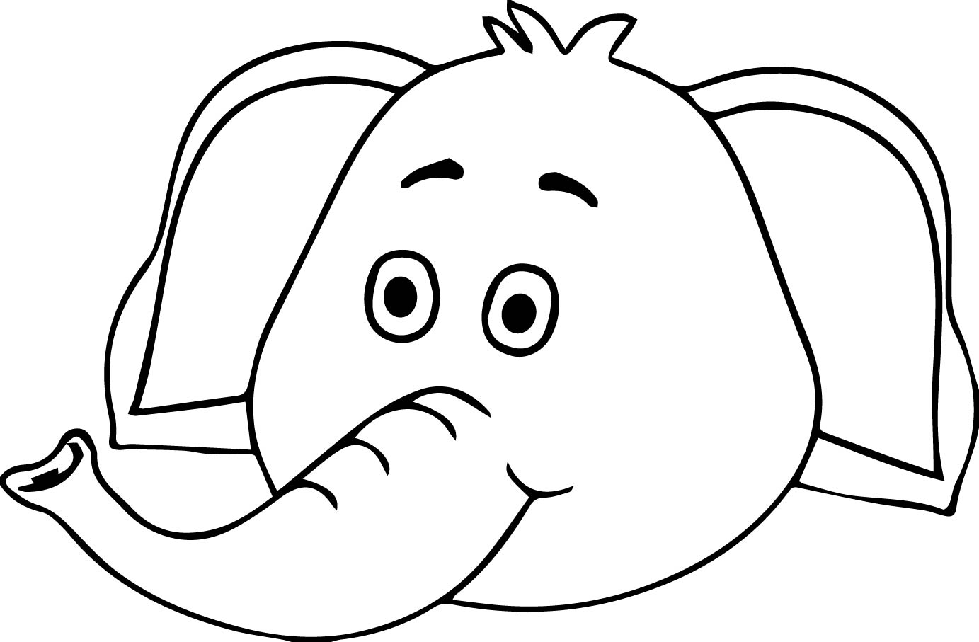 1383x907 Elephant Face Coloring Pages