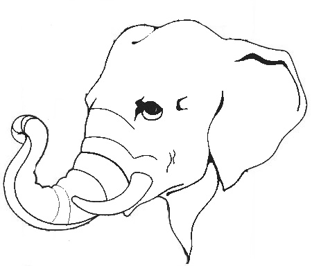 450x384 Modern Elephant Face Coloring Page Motif