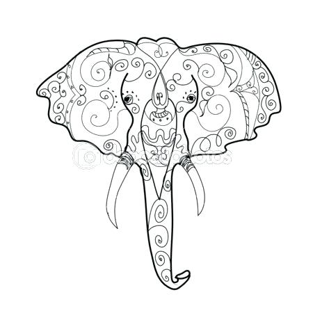 450x450 Elephant Head Coloring Page Elephant Color Pages Elephant Coloring