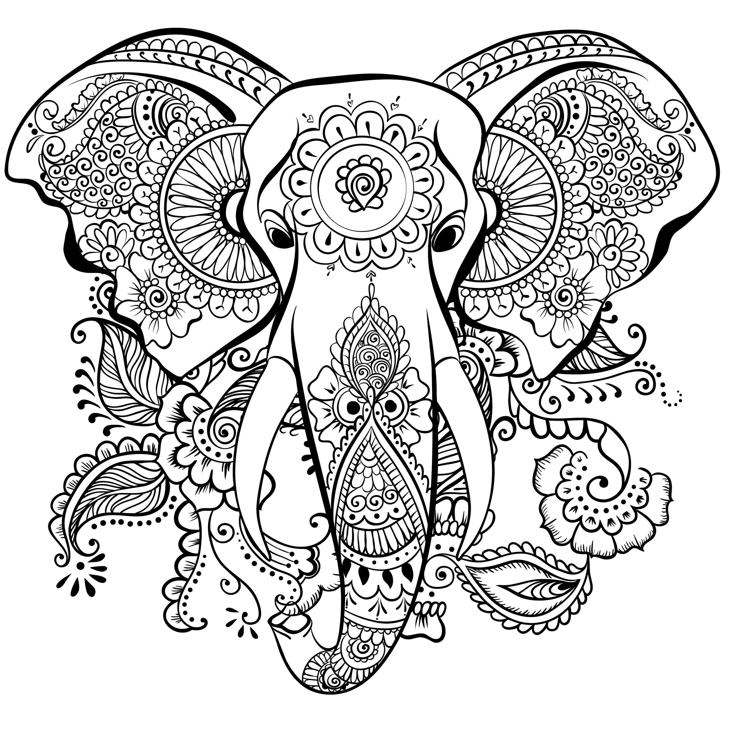 2555x2560 Sure Fire Abstract Elephant Coloring Pages For Adults Head Adult