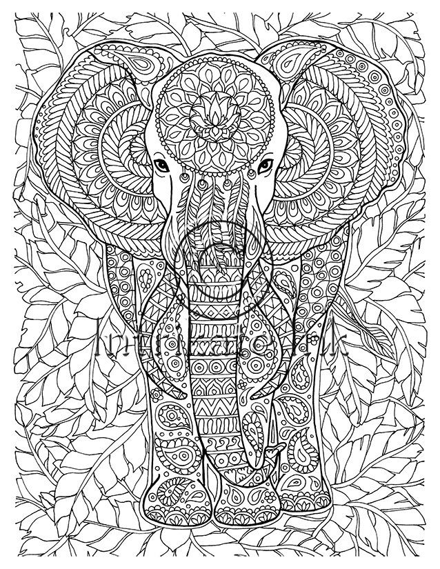 638x825 Elephant Coloring Page