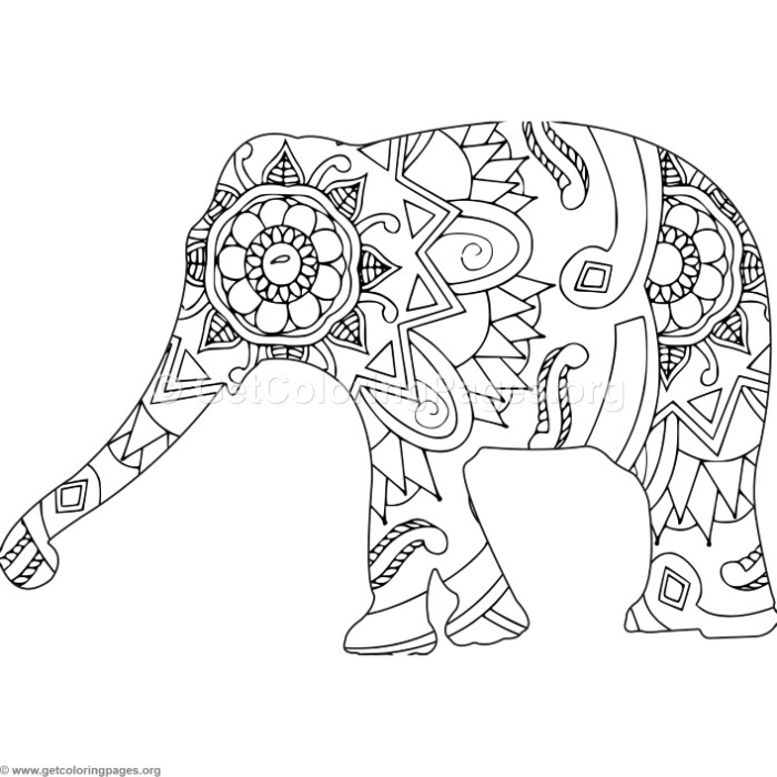 700x700 Zentangle African Elephant Coloring Pages