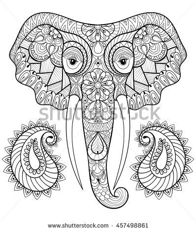 398x470 Zentangle Stylized Ethnic Indian Elephant With Boho Paisley