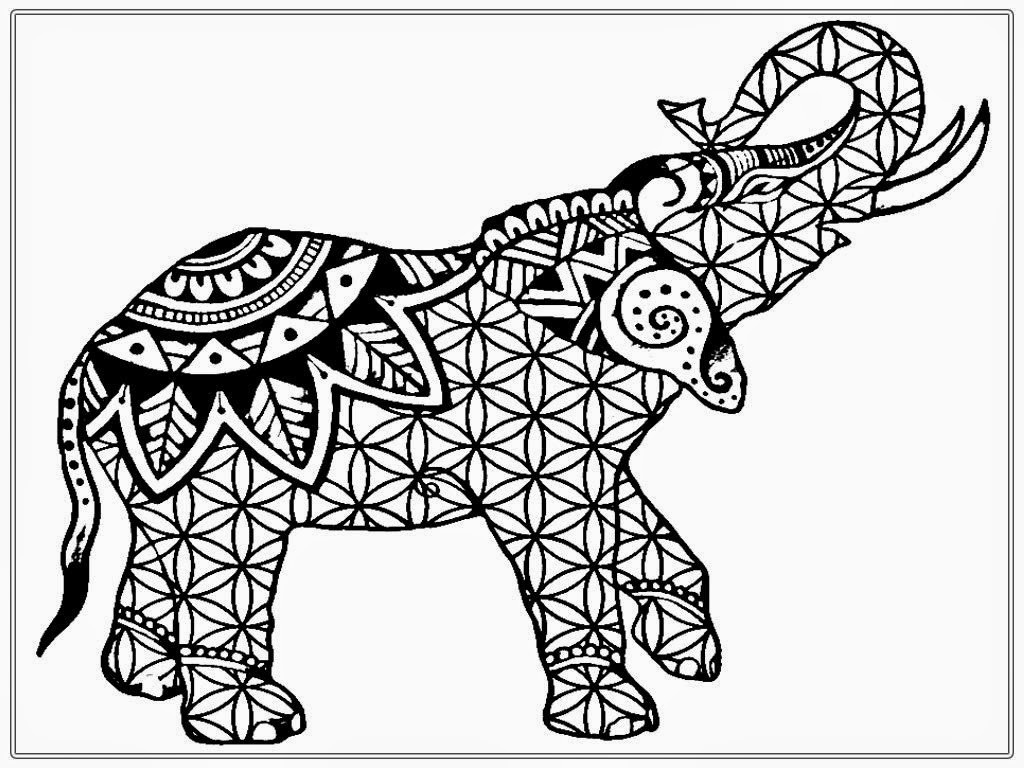 1024x768 Awesome Abstract Elephant Coloring Pages For Adults Happy