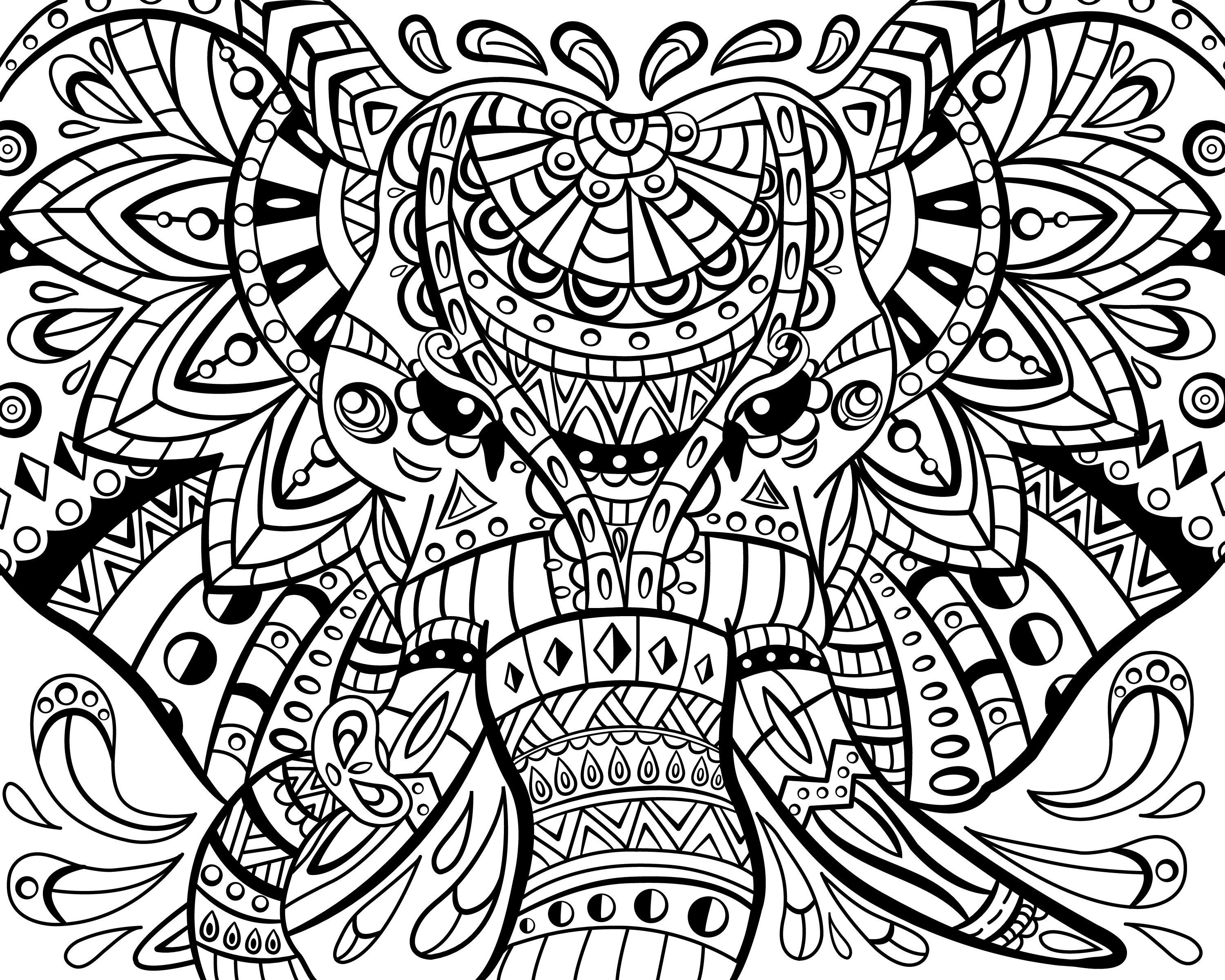 3000x2400 Awesome Adult Coloring Pages Printable Zentangle Elephant