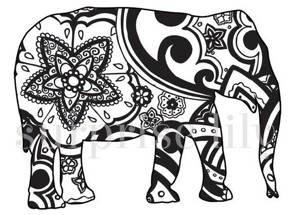 570x418 Colouring Book Elephant