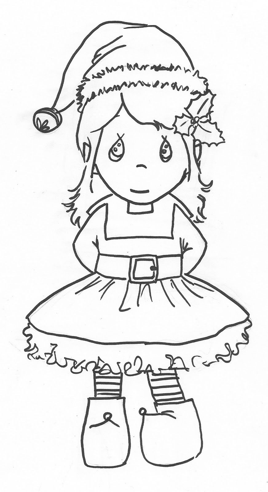 872x1600 Precious Moments Girl Elf Coloring Page Christmas
