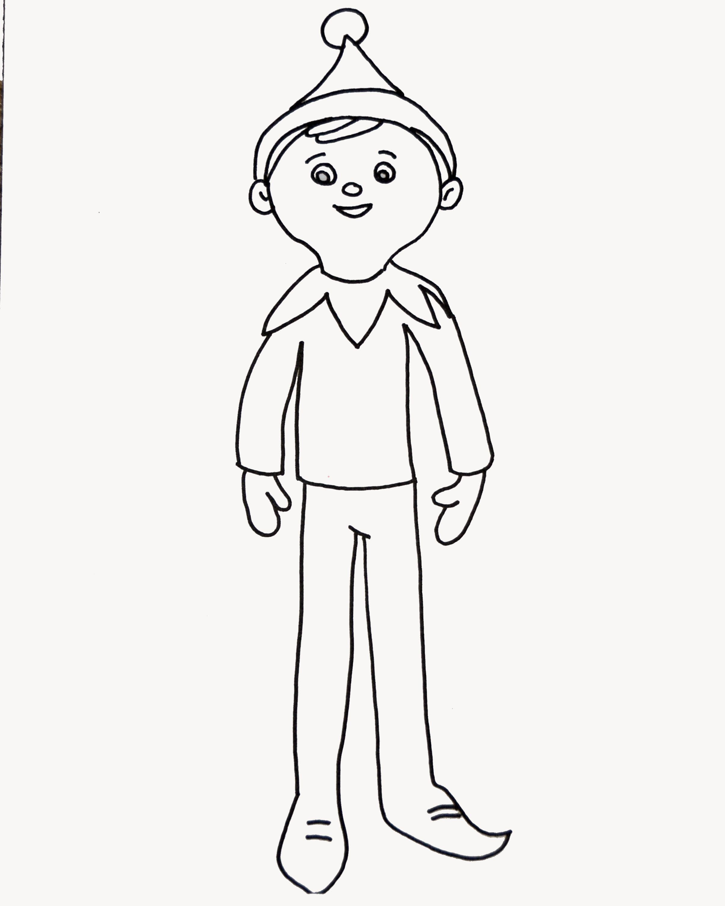 2412x3015 Elf On The Shelf Coloring Page For Elfie And The Kids To Colour