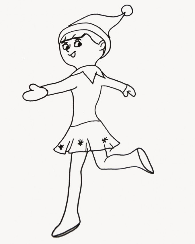 680x850 Elf On The Shelf Girl Coloring Pages Coloring Page