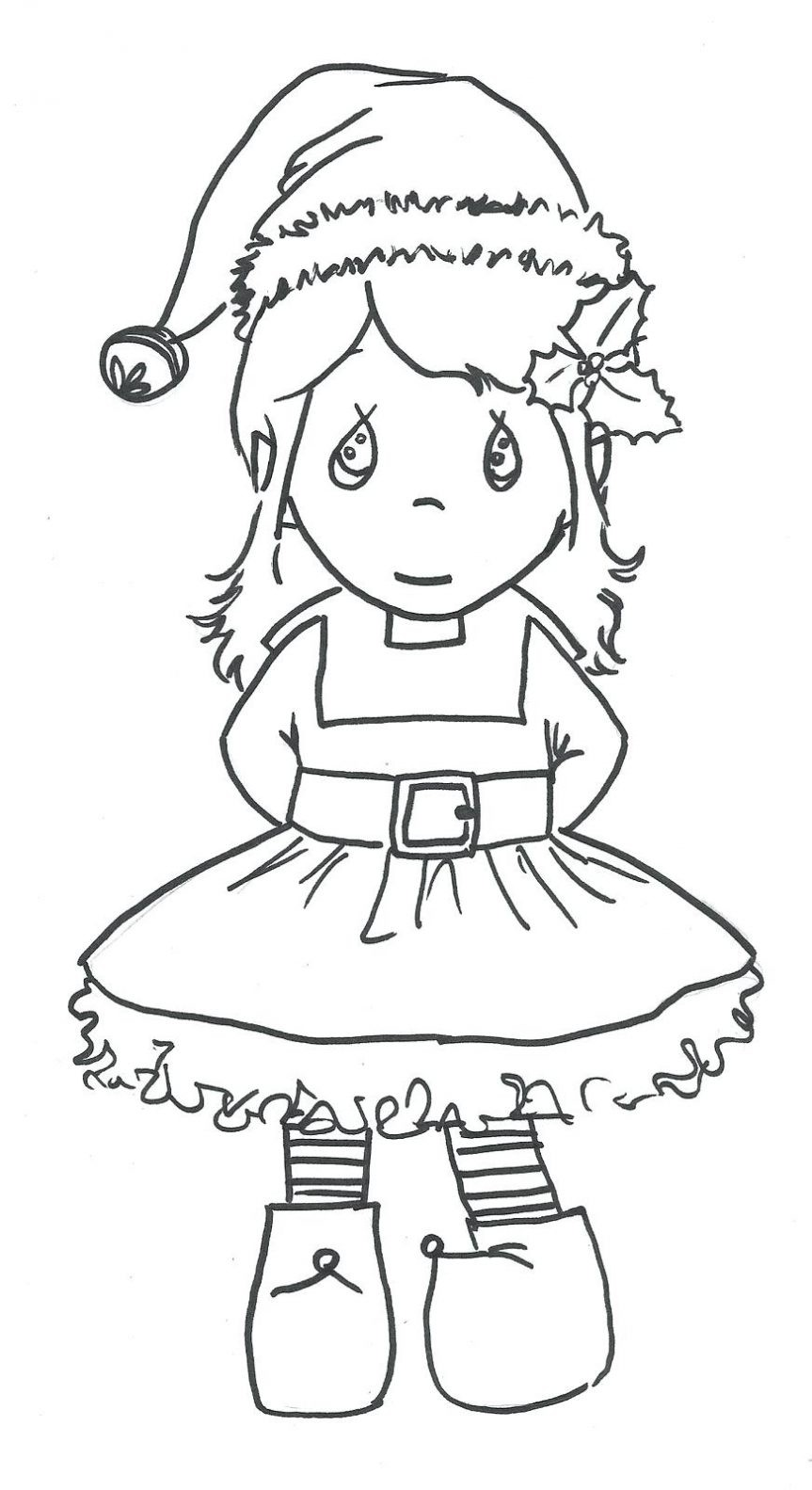 863x1583 Free Elf Coloring Page Printable Nice Christmas Pages On The Shelf