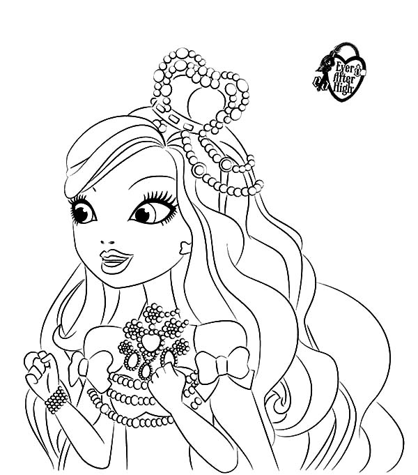 600x681 Ever After High Coloring Pages Fair Ashlynn Ella Wearing Beautiful