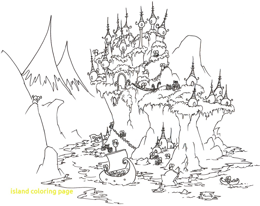 1000x795 Island Coloring Page With House On Island Coloring Pages