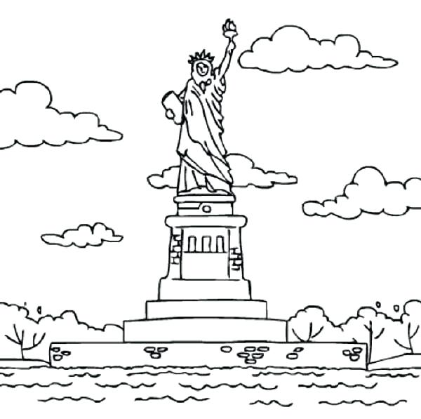 600x597 Island Coloring Pages Statue Of Liberty In Island Coloring Page