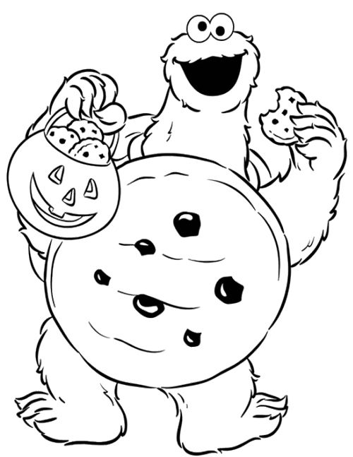 500x647 Elmo Halloween Coloring Pages Cookie Monster Halloween Coloring