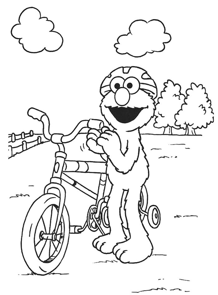 700x945 Elmo Playing Bicycle Coloring Page Printable Do Dads