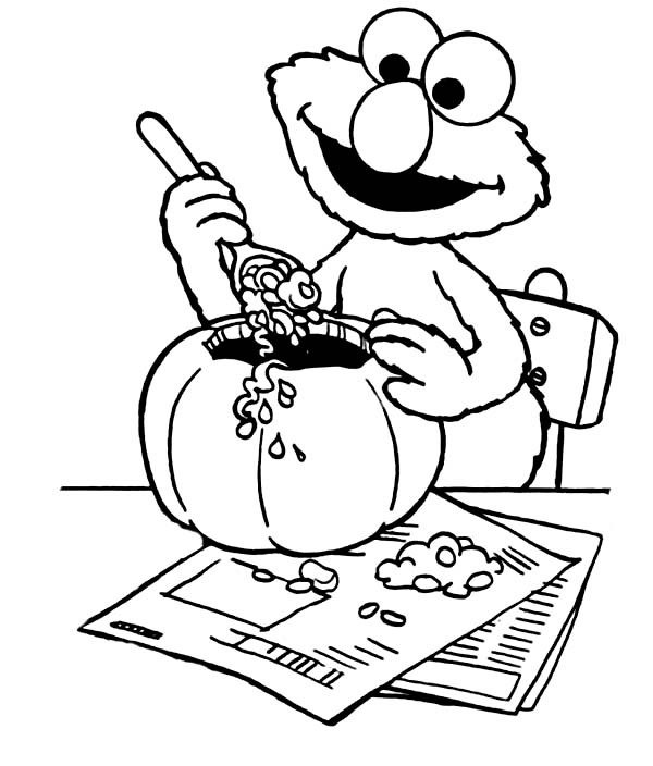 600x704 Elmo Halloween Coloring Pages Elmo Make Halloween Pumpkin Coloring